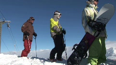Ski and Snowboard on Mountain Stock Footage