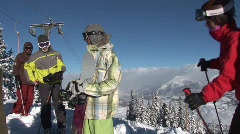 Skiers on Mountain Stock Footage