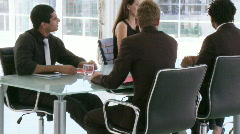 Businessteam with a female leader Stock Footage