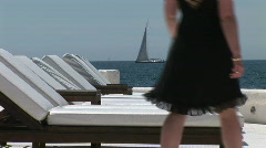 HD1080i Holiday resort in Majorca. Hotel terrasse with white sunloungers. Stock Footage