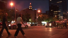 Busy downtown nightlife Stock Footage