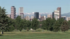 Denver, CO skyline from Golf Course - stock footage