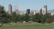 Denver, CO skyline from Golf Course Stock Footage