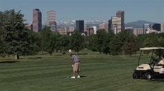 Golfing In the City Stock Footage
