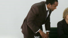 Businessman want his assoicate to get the idea Stock Footage