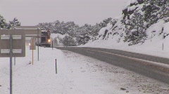 Tow Truck on Winter Highway Stock Footage