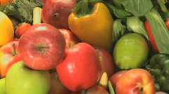Mixture of veg and fruits - stock footage