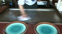 Hibachi grill cleaning Stock Footage