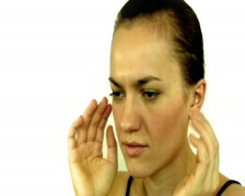 Young woman having headache and massaging her head Stock Footage