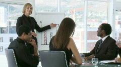 Businesswoman explaning business results to her team Stock Footage
