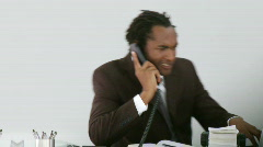 African american talking on a phone Stock Footage