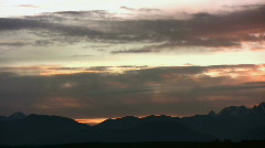 Mountain pan sunset - stock footage