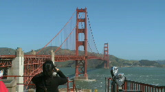 Tourists at the Golden Gate Bridge Stock Footage