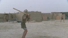 Marines play Baseball in Afghanistan (HD) Stock Footage