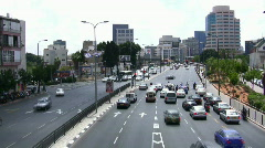 Skyline of Tel Aviv: Menahem Begin Rd. time lapse Stock Footage