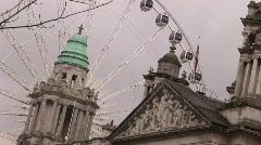 Belfast City Hall Roof and Dome with the Belfast Wheel Stock Footage