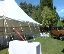 Event tent set up for party - stock footage