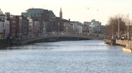 Stock Video Footage of Ha'Penny Bridge, Dublin