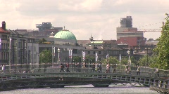 Ha'Penny Bridge, Dublin to the Four Courts Stock Footage