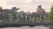 Stock Video Footage of Ha'Penny Bridge, Dublin to the Four Courts