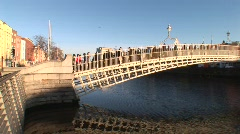 Hapenny Bridge, Dublin Pan - stock footage