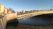 Stock Video Footage of Hapenny Bridge, Dublin Pan