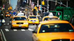 Slow Motion NYC Taxis & Peds - stock footage