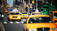 Stock Video Footage of Slow Motion NYC Taxis & Peds