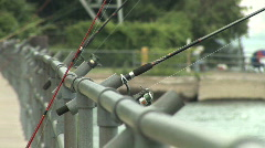 City Fishing Poles - stock footage