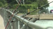 City Fishing Poles Stock Footage