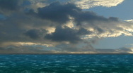 Stock Video Footage of Composite of CG ocean sunny