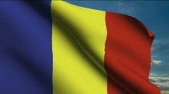 Principality of Andorra flag - stock footage