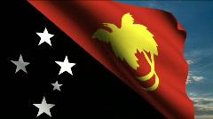 Papua New Guinea flag - stock footage