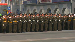 Generals by cars cabriolets pass by the armies Stock Footage