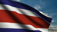 Costa Rica Flag Stock Footage