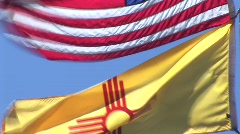 New Mexico Zia Flag 2 in 3 Stock Footage
