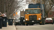 Recycling truck. Front view. Stock Footage