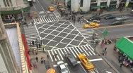 Stock Video Footage of New York City busy intersection time-lapse from above