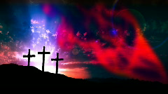 HD set of 3 christian crosses on a sunrise with smoke effects Stock Footage