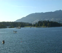 Seaplane taxis in Vancouver Harbor Stock Footage