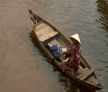 Elderly Vietnamese Man in boat Stock Footage