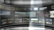 Stock Video Footage of HD Virtual TV studio set with animated main monitor