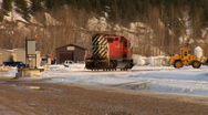 Train passby Golden BC Canada Stock Footage