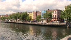 River Liffey from O'Connell Bridge Stock Footage