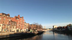 River Liffey Quayside Stock Footage