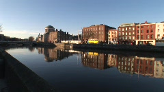 LIffey Pan to North Quays Stock Footage