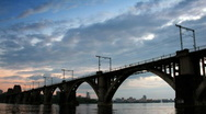 Railway bridge against running clouds. Stock Footage