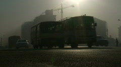 traffic and smog - stock footage
