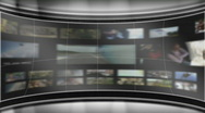 HD Virtual TV studio set with animated main monitor Stock Footage