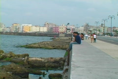 sitting on the malecon - stock footage